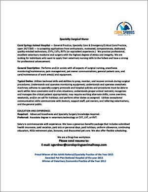 Coral Springs Animal Hospital job posting